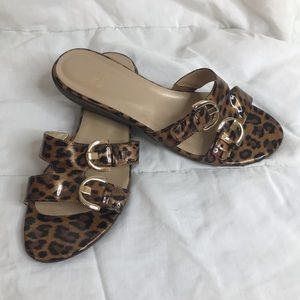 STUART WEITZMAN Animal Print Slide Sandals Buckles